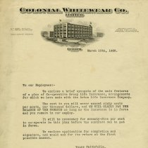 Image of Letter to Employees, Colonial Whitewear Co., 1925