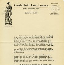 Image of Promotional Letter, Guelph Elastic Hosiery Company, 1924