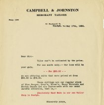 Image of Advertising Letter, Campbell & Johnston, Merchant Tailors, 1924