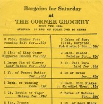 Image of Advertising Flyer, The Corner Grocery, 1924