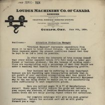 Image of Letter, Louden Machinery