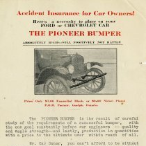 """Image of Advertisement for the """"Pioneer Bumper"""", Verner T. Smith Co. Ltd."""