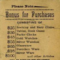 Image of E.R. Bollert & Co. Bonus Punch Card