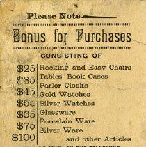 Image of Reverse side of E. R. Bollert's Bonus Punch Card