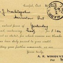 Image of Postcard Receipt from A.R. Woodyatt & Co., 1900
