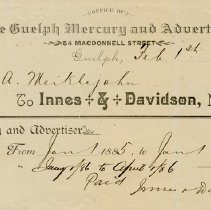 Image of Invoice, Guelph Mercury & Advertiser, 1886