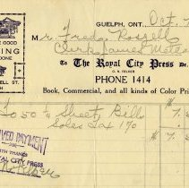 Image of Invoice, The Royal City Press, 1930