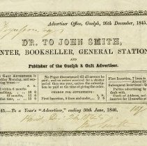 Image of Advertisement for John Smith, Printer and Bookseller, 1845