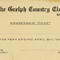 Image of Guelph Country Club Membership Ticket, 1915