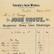 Image of Statement from Crowe's Iron Works, 1895
