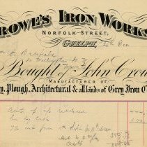 Image of Statement, Crowe's Iron Works, 1888