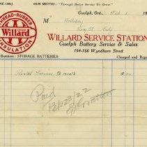 Image of Invoice, Willard Service Station, 1922