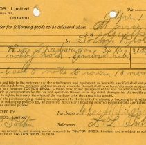 Image of Order Form, Tolton Bros. Limited, 1922