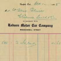 Image of Invoice from the Robson Motor Car Company, 1915
