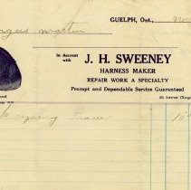 Image of Invoice, J.H. Sweeney, Harness-Maker, 1927