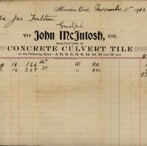 Image of Invoice to James Fulton of Guelph, 1912