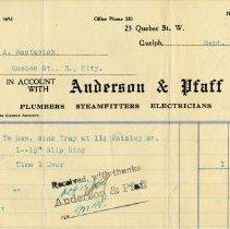 Image of Invoice, Anderson & Pfaff, 1927