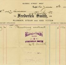 Image of Invoice, Frederick Smith, Plumber, Steam and Gas Fitter, 1911