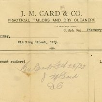 Image of Statement, J. M. Card & Co., 1922