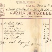 Image of Invoice from John Mitchell, Undertaker, 1888