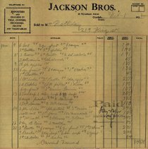 Image of Invoice from Jackson Brothers, 1922