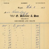 Image of Statement, G. Sinclair & Son, Grocers, 1922