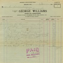 Image of Statement, George Williams, Baker and Confectioner, 1922