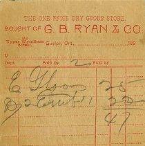 Image of Reverse of Counter Bill, G.B. Ryan & Co., c.1895