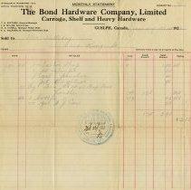 Image of Statement, Bond Hardware Co., 1922