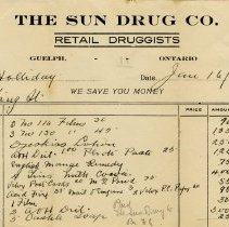 Image of Invoice, The Sun Drug Co., 1922