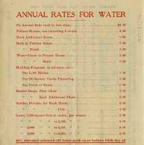 Image of Annual Rates for Water; Extract from By-Laws