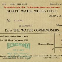 Image of Guelph Water Works Bill to Mr. E. Rive, July 1, 1910
