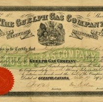 Image of Guelph Gas Co. Stock Certificate Issued to Frederick Chadwick, 1884