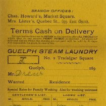 Image of Laundry Bill from Guelph Steam Laundry, c.1895