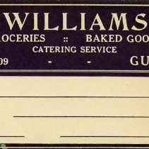 Image of Shipping Labels, Williams Groceries and Baked Goods