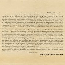 Image of Letter to Agents from World Publishing Co., 1901