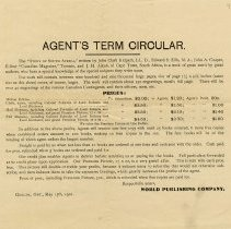 "Image of ""Agent's Term Circular,"" from World Publishing Co., 1901"