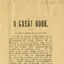 Image of Newspaper Ad for Biography on Queen Victoria, 1901