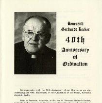 Image of Reverend Gerhardt Becker, 40th Anniversary of Ordination
