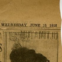 Image of Date, June 19, 1918, back of newspaper clipping