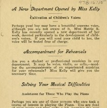 "Image of ""A New Department Opened by Miss Kelly,"" back cover"