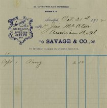 Image of .1 - Statement, Savage & Co., 1912