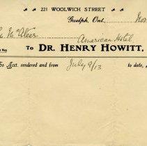 Image of .3 - Invoice from Dr. Henry Howitt, November 30, 1913