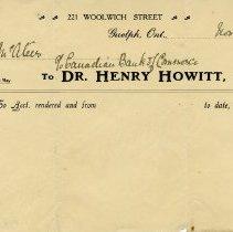 Image of .4 - Invoice from Dr. Henry Howitt, 1913