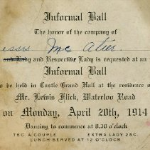 Image of Invitation to Informal Ball, April 20th, 1914