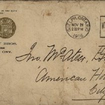 Image of Envelope from Holliday Bros. Brewery, 1916