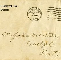 Image of Envelope from Ontario Metal Culvert Co., Guelph