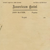Image of Blank Invoice, American Hotel, circa 1915