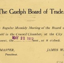 Image of Guelph Board of Trade Notice of Meeting, 1912