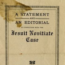 Image of Statement and Editorial re the Jesuit Novitiate Case